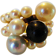 14 Karat Yellow Gold Cultured Pearl Ring