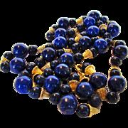 14 Karat Yellow Gold Beads and Lapis Lazuli Beads on 14 Karat Chain