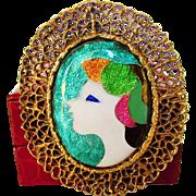 Vintage Enameled Modernist Portrait of a Woman Pin or Pendant in Goldtone
