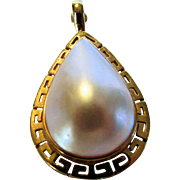 14 Karat Yellow Gold Mabe Pearl Pendant or Enhancer