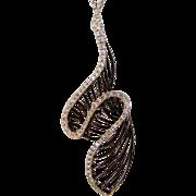 14 Karat White Gold Modernist Diamond Pendant on 14 Karat White Gold Chain