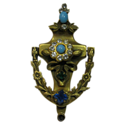 Coro 1950's Mechanical Door Knocker with Blue and Green Accents