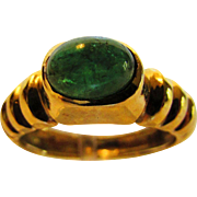 14 Karat Yellow Gold Emerald Cabochon Ring