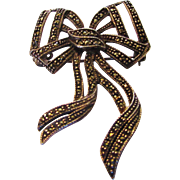 Sterling Silver Deco Marcasite Bow Pin