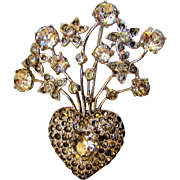 Vintage Eisenberg Mid Century Floral Pin in Silver Tone with a Variety of Crystals