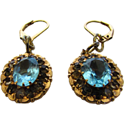 Vintage Yellow Gold Filled Earrings With Light Blue Crystals for Pierced Ears