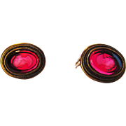 Vintage Designer Signed Intaglio Clip On Earrings Cameo Carved Ruby Glass