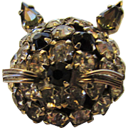 Vintage Warner Cat's Head Pin in Black and Clear Crystals