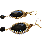 Vintage Gold Filled Earrings Decorated in Faux Pearls and Faux Onyx