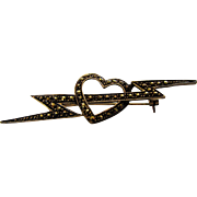 Sterling Silver Marcasite Pin of Lightening Bolt Through Heart
