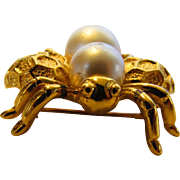 Vintage Napier Goldtone Bee Pin Enhanced With Faux Pearls