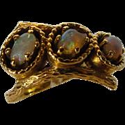 14 Karat Yellow Gold Triple Opal Ring In Organic Setting