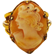 Vintage Carved Cameo Ring in  Gold Filled Mid Century Setting