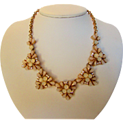 Vintage Mid Century Necklace With Faux Opals and Clear Crystal Accents