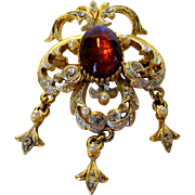 Vintage Sphinx Victorian Revival Goldtone Pin With Faux Citrine Cabochon and Faux Pearl and Crystal Accents