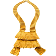 Vintage Textured Goldtone Mega Necklace Modernist Design