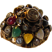 10 Karat Yellow Gold and Sterling Silver Princess Gem Ring Featuring Ruby, Emerald, Opal and More
