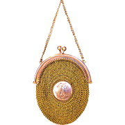 Vintage Rose Gold Tone Coin Purse on Sterling Rose Gold Wash Chain