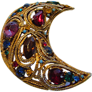 Vintage Moghul Style Pin With A Variety of Jewel Tone Crystals