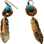 Sterling Silver Pierced Earrings With Turquoise Cabochons and Feather Design
