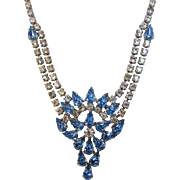Vintage MId Century Adjustable Blue and Clear Crystal Necklace