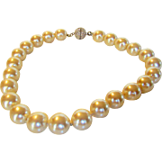 Kenneth Lane Faux Pearls and Rhinestone Bling Clasp
