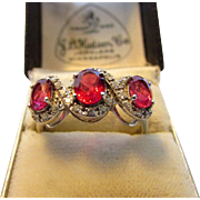 14 Karat Rubellite Tourmaline and Diamond in White Gold Ring