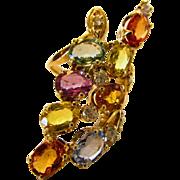 14 Karat Yellow Gold  Multi Sapphire Diamond Ring
