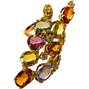 14 Karat Yellow Gold  Multi Sapphire Diamond Ring