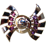Sterling Silver Mid Century Modern Pin Accented With Faux Amethysts