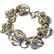 Sterling  Silver Mid Century Chunky But Light Bracelet