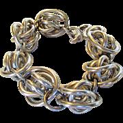 Sterling  Silver Mid Century Chunky But Light Bracelet