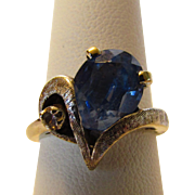 10 Karat White Gold Blue Topaz Ring With Diamond Accent