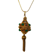 Vintage Florenza Jeweled Pendant in Goldtone With Faux Turquoise and Faux Ruby Accents