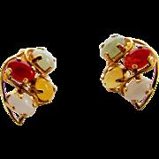 14 Karat Yellow Gold Jadite Earrings in Four Different Tones