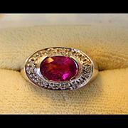 14 Karat White Gold Diamond and Pink Tourmaline Ring
