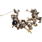 Sterling Silver Charm Bracelet with 19 Unique Charms Many Sterling