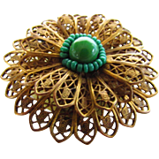 Vintage Brass Dress Clip With Green Glass Bead Accents