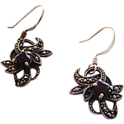 Sterling Silver Marcasite Dark Garnet Pierced Earrings