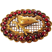 Victorian Brass Bird on a Branch Pin With Red Crystal Surround