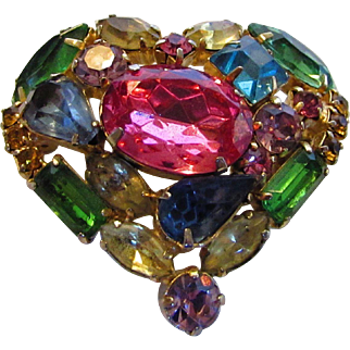 Vintage Heart Shaped Pin With A Wonderful Assortment Of Crystal Color and Shape