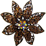 Vintage Bronze Tone Crystals Floral Theme Pin
