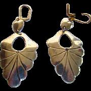 Sterling Silver Pierced Earrings in  Leaf Form