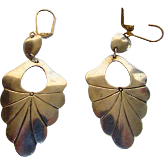 Sterling Silver Pierced Earrings in  Leaf Form