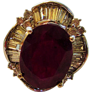 14 Karat White Gold  Natural Ruby Ring Accented With Diamond Baguettes