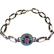Sterling Silver Flower Enameled Center Bracelet