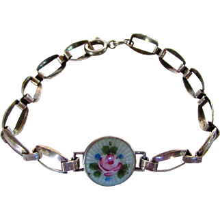 Sterling Silver Flower Enameled Center Bracelet