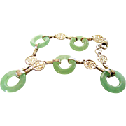 Sterling Silver Jadite Bracelet with Asian Accents