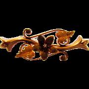 10 Karat Yellow Gold and Rose Gold Bar Pin With Tiny Diamond Accent