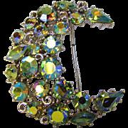 Vintage Lisner Blue Aurora Borealis Crystal Crescent